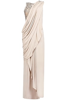 Nude Drape Saree with Sheer Embroidered Blouse by Platinoir