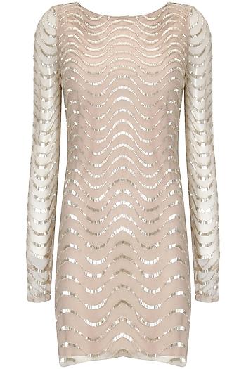 Blush cutdana embellished short dress by Platinoir