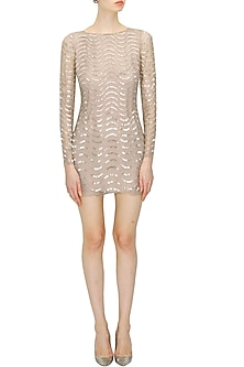 Blush cutdana embellished short dress by Platinoir