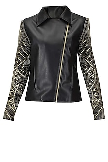 Black and antique gold embroidered leather jacket by Platinoir