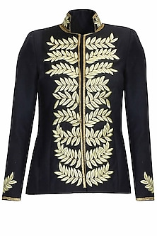 Navy and gold leaves embroidered military woolen jacket by Platinoir