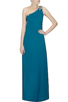 Teal long grecian formal gown by Platinoir