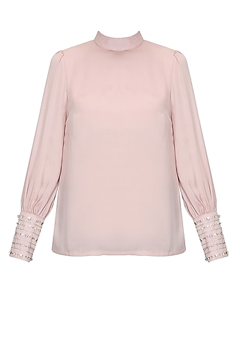 Powder pink crystal embroidered high neck top by Platinoir