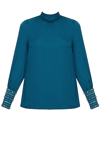 Teal crystal embroidered high neck top by Platinoir