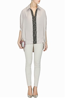 Taupe studs and crystal embroidered baggy collared top by Platinoir