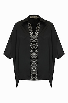 Black studs and crystal embroidered baggy collared top by Platinoir