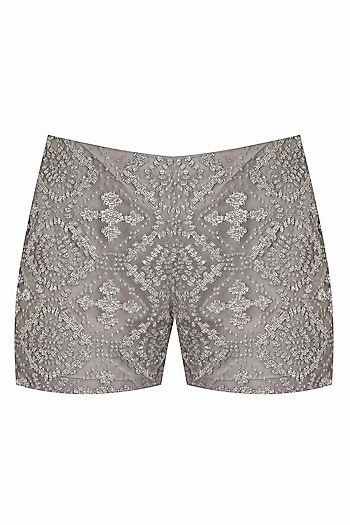 Taupe aztec pattern beads embroidered shorts by Platinoir