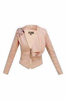 Pink 3D flowers embroidered layered collar jacket by Platinoir