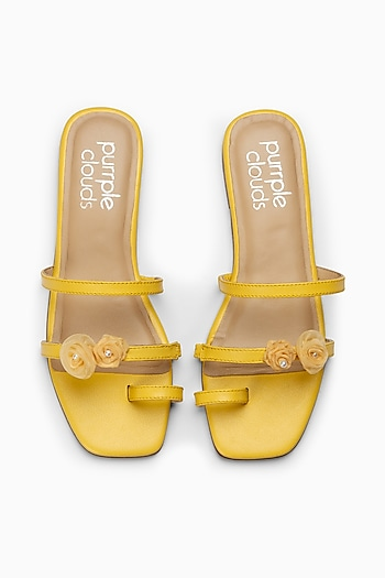 Yellow Embroidered Shoes With Toe Ring Straps by PURRPLE CLOUDS