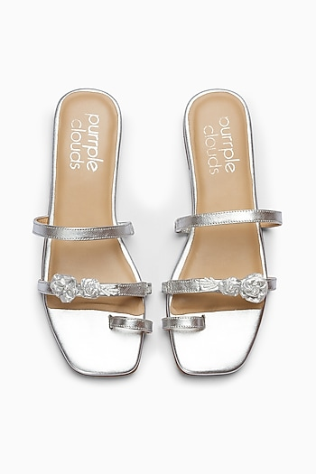 Silver Embroidered Shoes With Toe Ring Straps by PURRPLE CLOUDS