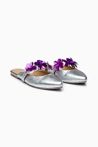 Silver Mules With Embellishments by PURRPLE CLOUDS