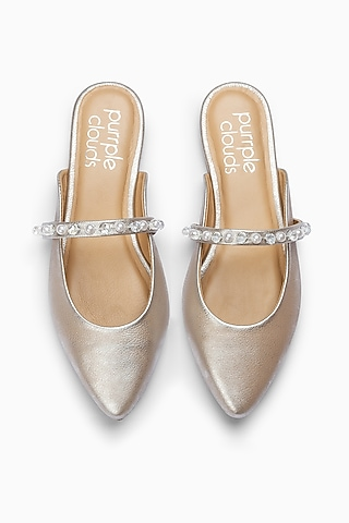 Gold Mules With Embellishments by PURRPLE CLOUDS