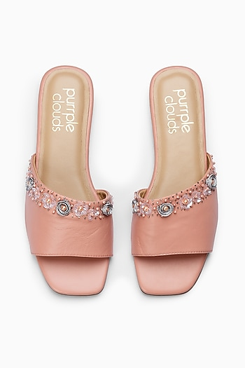 Pink Sliders With Sequins Embellishment by PURRPLE CLOUDS