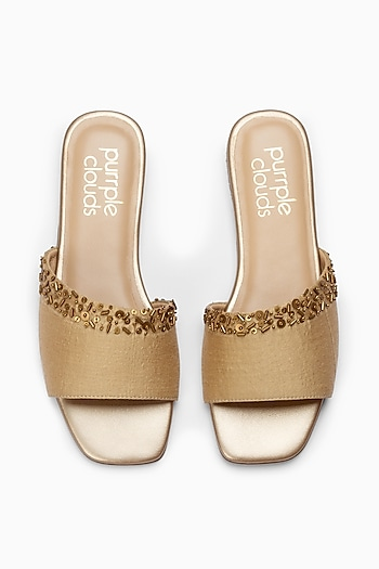 Bronze Sliders With Embellishment by PURRPLE CLOUDS