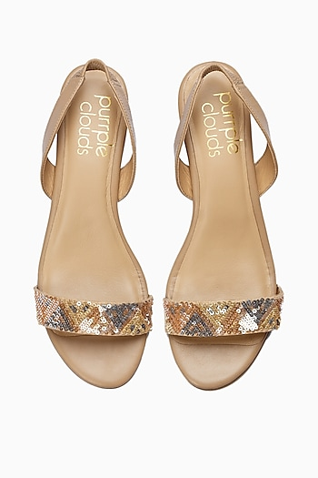 Nude Sequins Embroidered Wedges by PURRPLE CLOUDS