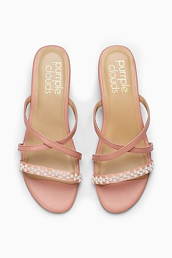 Pink Sandals With Embellishments by PURRPLE CLOUDS