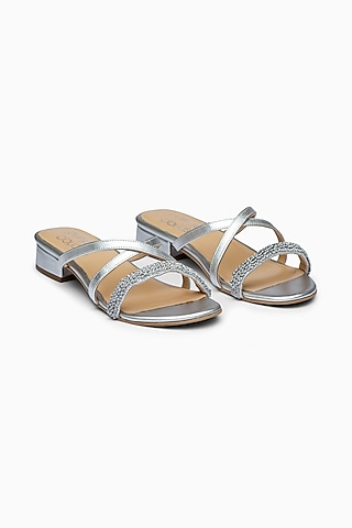 Silver Embroidered Sandals With Block Heels by PURRPLE CLOUDS