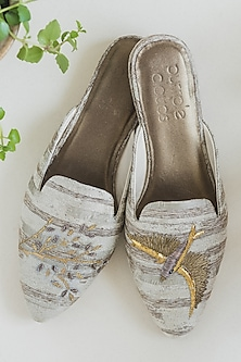 Gold Hand Embroidered Mules by PURRPLE CLOUDS