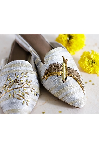 Yellow Hand Embroidered Mules by PURRPLE CLOUDS