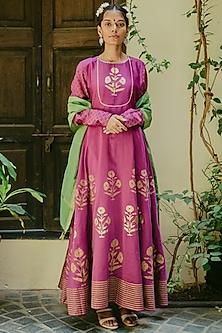 Fuchsia Pink Embroidered & Printed Anarkali Set by Purple Panchi