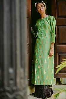 Emerald Green Printed Kurta With Skirt by Purple Panchi