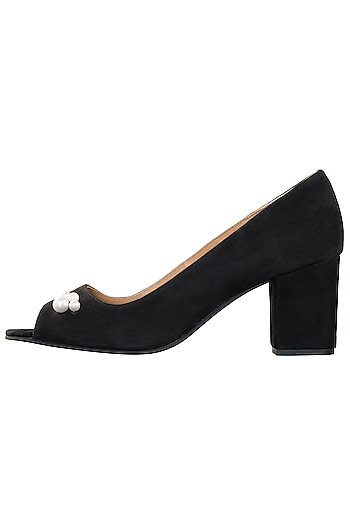 Black peep toe block heels by PURRPLE CLOUDS