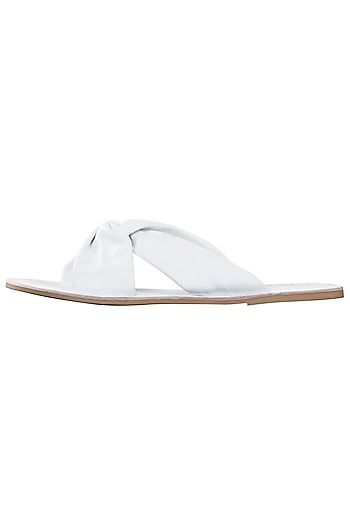 White leather sliders by PURRPLE CLOUDS