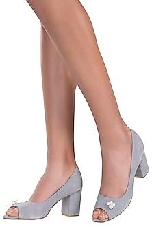 Greyish blue peep toe block heels by PURRPLE CLOUDS