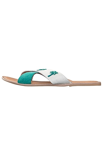 White and green palm tree cross straps sliders by PURRPLE CLOUDS