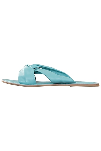 Blue leather sliders by PURRPLE CLOUDS