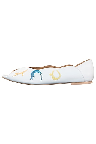 White embroidered peep toes by PURRPLE CLOUDS