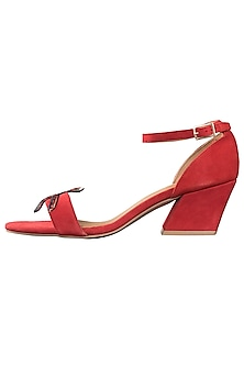 Red strappy block heels by PURRPLE CLOUDS