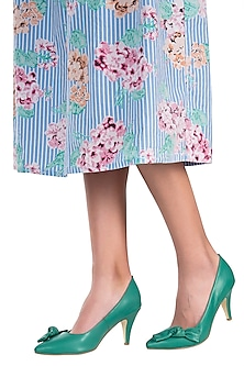 Green leather pumps by PURRPLE CLOUDS