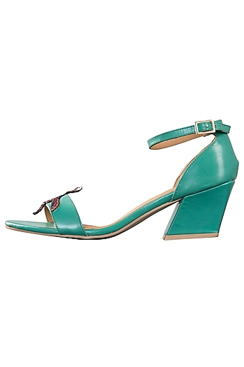 Green strappy block heels by PURRPLE CLOUDS