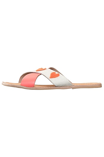 White and pink love cross strap sliders by PURRPLE CLOUDS