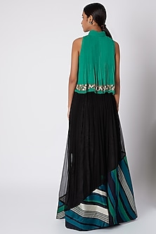 Peacock Green Embroidered Top With Black Skirt & Belt by Pallavi Jaipur