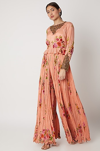 Peach Embroidered Peplum Top With Pants by Pallavi Jaipur