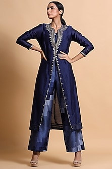 Navy Blue Embroidered Pant Set by Pallavi Jaipur