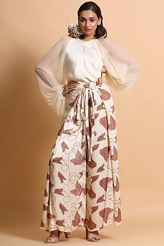 Almond Embroidered Pant Set by Pallavi Jaipur