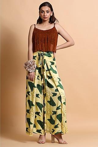 Yellow & Red Printed Pant Set by Pallavi Jaipur