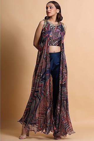 Navy Blue & Purple Embroidered Pant Set by Pallavi Jaipur