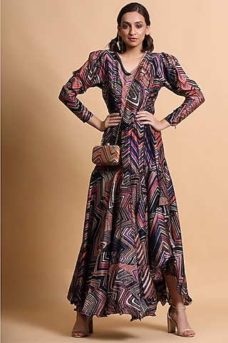 Navy Blue Printed Dress by Pallavi Jaipur