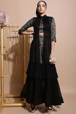 Black Printed Culottes Set by Pallavi Jaipur