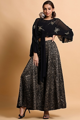 Black Printed Pant Set by Pallavi Jaipur