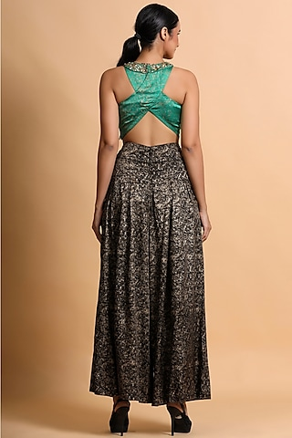 Black & Green Printed Pant Set by Pallavi Jaipur