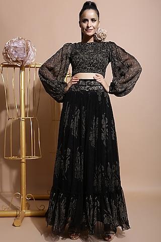 Black Printed Skirt Set With Belt by Pallavi Jaipur