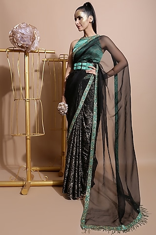 Black & Green Printed Saree Set by Pallavi Jaipur