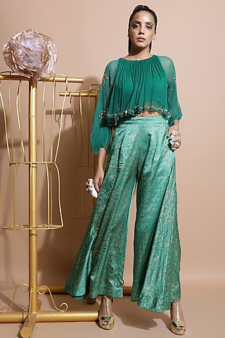 Green Embroidered Pant Set by Pallavi Jaipur
