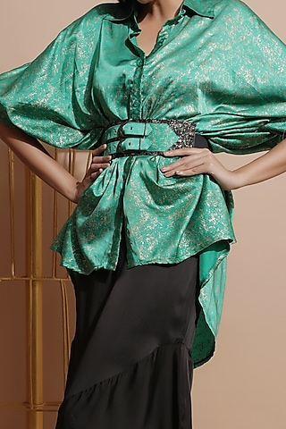 Green Tunic With Belt by Pallavi Jaipur