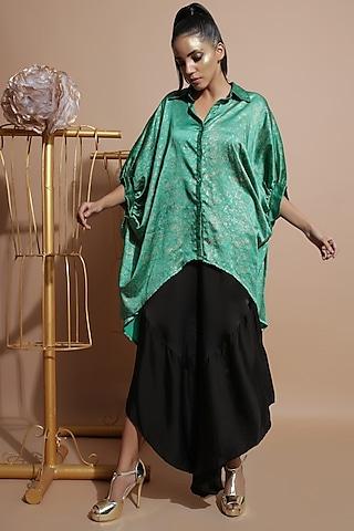 Green Shirt Tunic With Pants by Pallavi Jaipur